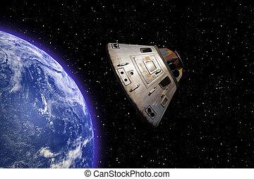Apollo 13 space capsule orbiting Earth in space