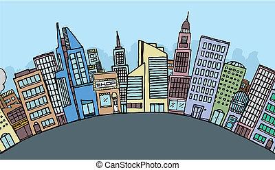 Huge cartoon city skyline