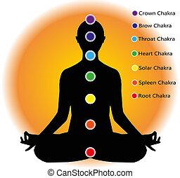 human figure who meditates and chakra points