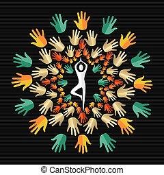 Human hand design with silhouette doing yoga