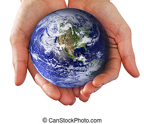 Human Hand Holding the World in Her Hands