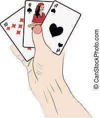 Human hand with playing cards