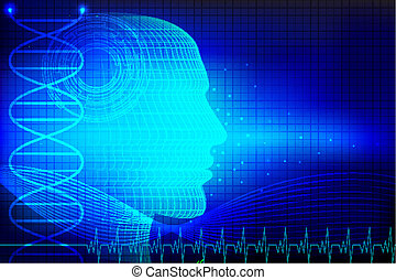 illustration of human head on abstract medical background