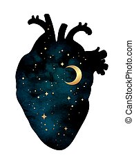 Human heart with universe inside isolated