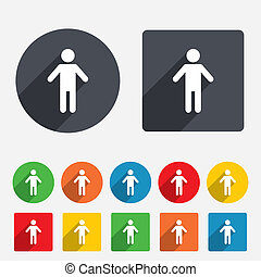 Human male sign icon. Man Person symbol. Male toilet. Circles and rounded squares 12 buttons.