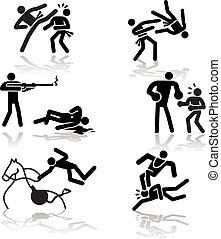 Olympic games see through an humor point of view. Set 4. In detail: Tae Kwon Do, Judo, shooting, Boxing, Equestrian, Wrestling