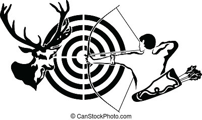 Hunting for deer, archer and target