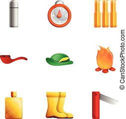 Hunting weapon tools icon set, cartoon style