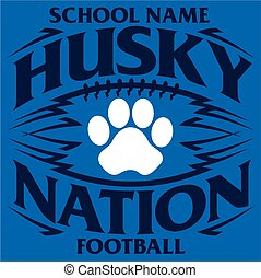 husky nation football team design with paw print inside ball for school, college or league