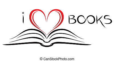 Open book with pages curved in heart shape
