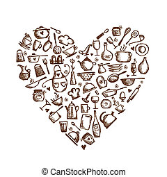 I love cooking! Kitchen utensils sketch, heart shape for your design