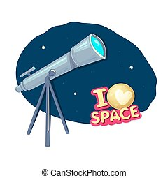 I love space, concept design with telescope, astronomer equipment, vector illustration