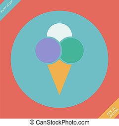 Ice Cream Icon - vector illustration. Flat design
