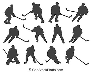 Ice hockey players and goalie vector silhouettes