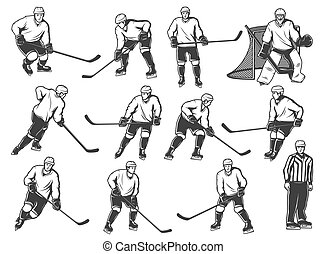 Ice hokey players icon, sport team playing on rink