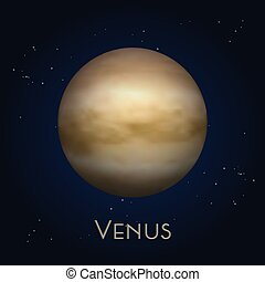 Icon of isolated Venus. Second solar system planet