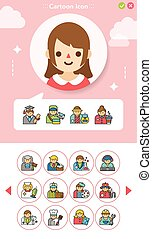 icon set occupation vector