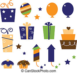 Icons and design elements for party celebration. Vector Illustration.
