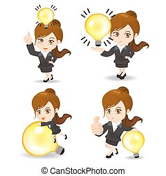Business woman with light bulb