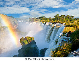 Iguazu falls, one of the new seven wonders of nature. UNESCO World Heritage site. View from the argentinian side.