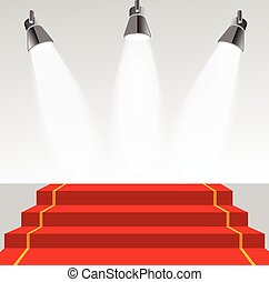 Illuminated pedestal with red carpet