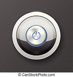 Illuminated power button icon - off-on knob, metal push button
