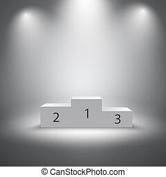 Illuminated business winners podium vector illustration