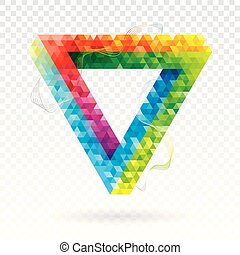 Illusion Triangle Geometric Colors Abstract Background.