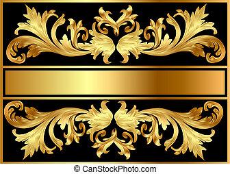 illustration background pattern frame from gild on black background