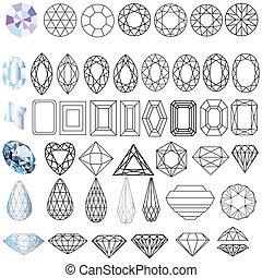 illustration cut precious gem stones set of forms