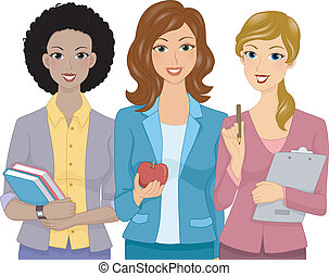 Illustration Featuring Female Teachers