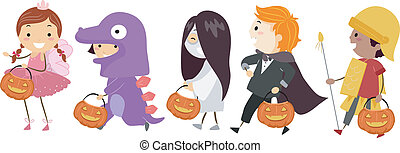 Illustration Featuring Kids Wearing Different Halloween Costumes