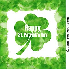 Happy Saint Patricks Day Watercolor Background with Clover