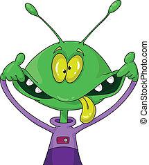 illustration of a crazy alien
