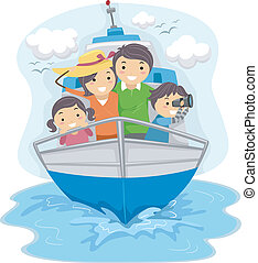 Illustration of a Family Traveling by Ship