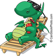 illustration of a funny relaxation dragon