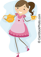 Illustration of a Girl Making Preparations for a Tea Party