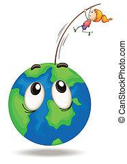 girl playing on earth