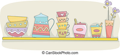 Illustration of a Kitchen Shelf Holding Cups, Bowls, a Pitcher, and Other Tableware