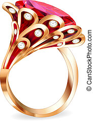 illustration of a piece of jewelry with a red ruby ring