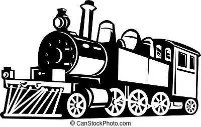 illustration of a vintage steam train done in black and white