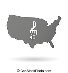 USA map icon with a g clef