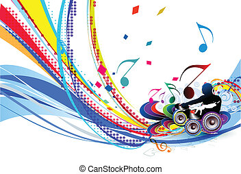 Abstract vector illustration of an dj man playing tunes with musics note background.