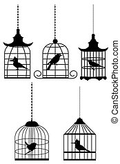 illustration of bird in cage on white background