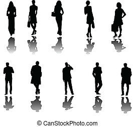 illustration of business people with shadow - vector