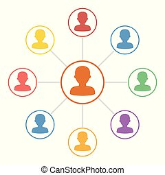 Colorful people connection icons