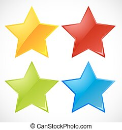 illustration of colorful vector stars on white background