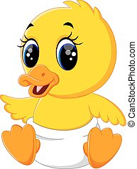 Cute baby duck cartoon