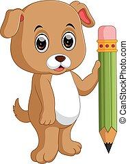 Cute dog holding pencil