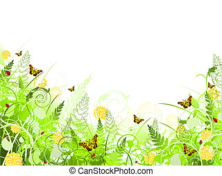 illustration of floral frame with swirls, butterfly, foliage